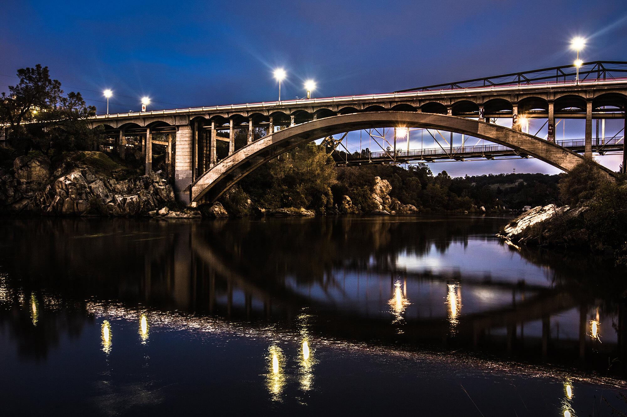 Rainbow Bridge at Night Folsom, CA