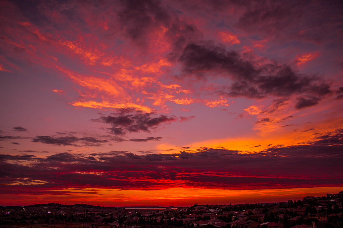 Sunset over El Dorado Hills and Folsom Lake