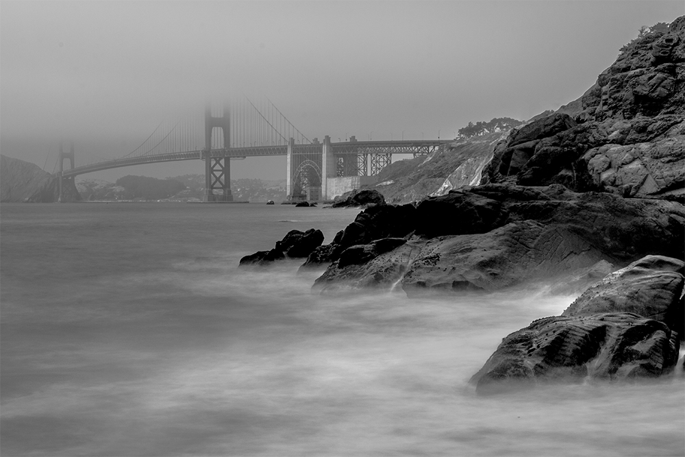 Golden Gate Bridge Black White Barker Beach